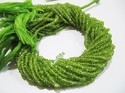 Natural Peridot Rondelle Faceted Beads