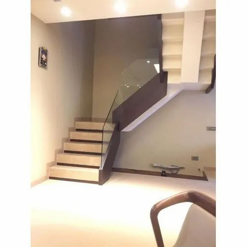Transparent Toughened Stairs Glass, Shape: Curve, Thickness: 1-10 mm