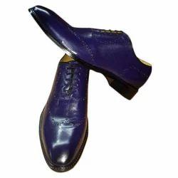Men's Purple Leather Formal Shoes, Size