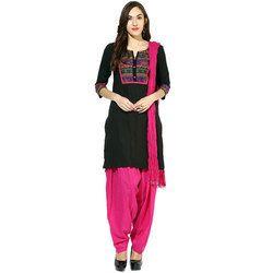 efad3015c3 Black and Pink Half Sleeves Kurta with Patiala Salwar