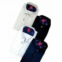 Plain Collar Neck Men Linen Shirt, Hand Wash