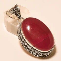 Silver Oxidized Handmade Gemstone Vintage Pendant