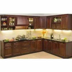 Brown Wooden Modular Kitchen