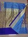 All Over Zari Woven Work Katan Saree With Contrast Blouse Piece