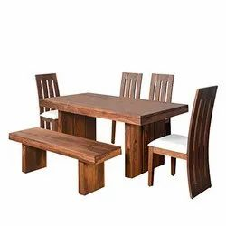 Brown Wood Material Dining Table With 4 Chairs And 1 Bench