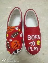 Red Unisex Hand Painted Shoes for Children