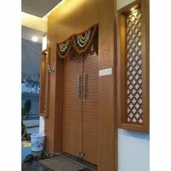 Wood Hinged Wooden Door Designing, Brown