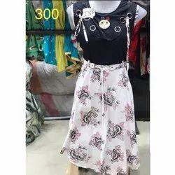 Rayon Printed Round Neck Designer Flayed Dress