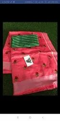 Party Wear Floral Print Ladies Cotton Embroidered Saree, With Blouse, 5.5 m (separate blouse piece)