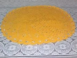 Oval Yellow Crochet Table Mats, Size: 23x15 Inch