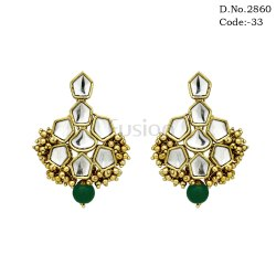 Pearl Kundan Hanging Earrings
