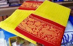 Party Wear South Cotton Sungudi Jari Checks Subham Fabric