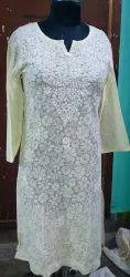 Full Sleeve White Stylish Printed Embroidered Kurti, Wash Care: Handwash