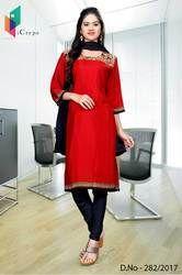 Red and Black Italian Crepe Uniform Salwar Kameez