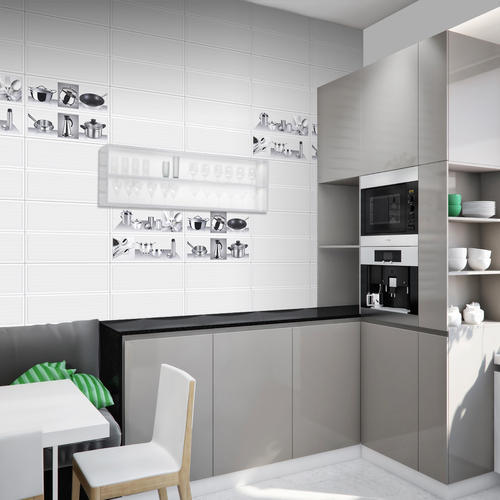 Wall Kitchen Design: Ceramic Decorative Design Kitchen Wall Tiles, Thickness