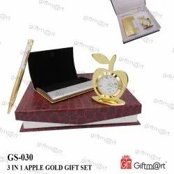 Gold, Black And Silver Metal 3 In 1 Apple Gold Gift Set