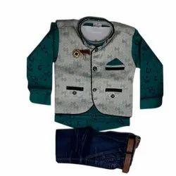 Cotton,Denim Boy Kids Party Wear Baba Suit, 0-32