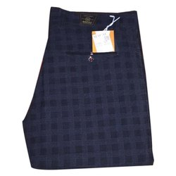 Mens Blue Check Print Cotton Trouser, Size: 34