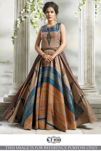 Cotton Chanderi With Digital Print Designer Gowns, Rs 1075 /piece ...
