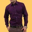 Mens Cotton Purple Stylish Formal Shirts, Size: S-xl