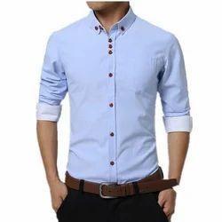 Blue Plain Mens Formal Shirt
