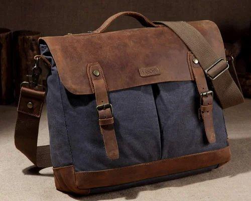 Adjustable Strap Leather Canvas Messenger Bag For Men 8fe8ee73dc51f