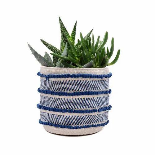 Decorative Handmade Fabric Plant Holder Basket Storage