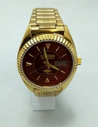 42121afde Men 39mm Citizen Automatic Gold Plated 21 Jewels Red Face Dial Japan Made  Watch, Model: 82.