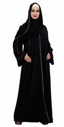 Korean Slub Front Open Burqa With Golden Pipe Lace Work & Hijab