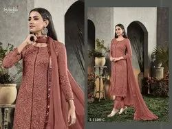SYBELLA Embriodery Work + Stone Krisha Export Foux Georgatte Suit, Dry clean