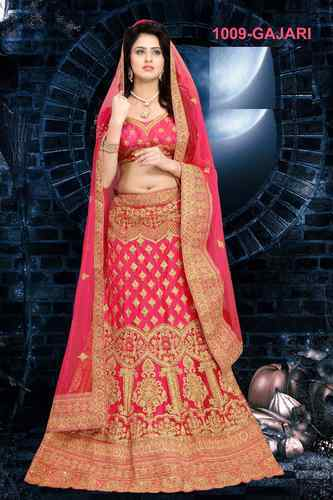 e3811758f2 Net Wedding Wear Gajari Pink Color Embroidery Semi-Stitched Lehenga Choli