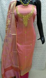 Ladies Peach Banarasi Gota Patti Suit