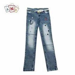 Denim Party Wear Kids Dobby Stretchable Jeans, Machine Wash,Handwash