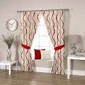 Ravi Exports Digital Printed Abstract Wavy Red Curtain