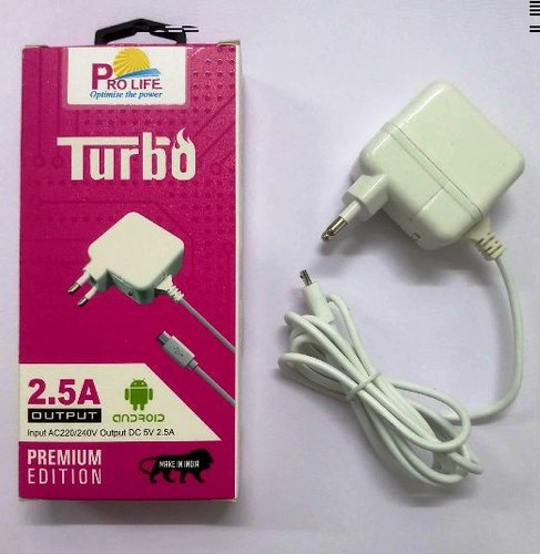 White Pro Life Mobile Fast Charger Wired 2.5 Amp