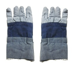 Mixed Plain Jeans Fabric Hand Gloves