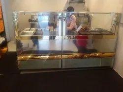 Rectangular Stainless Steel Display Counter for Restaurant