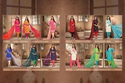 Casual Cotton Chanderi Embroidered Unstitched Salwar Kameez Suit