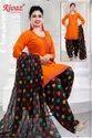 Cotton A-line Orange Ladies Suit, Machine Wash
