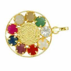 Dollar/Pendant-Navarathna Gold Polish-Small