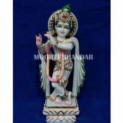 Lord Krishna White Makrana Marble Statue