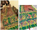 Party Wear Linen Saree with Zari Patta