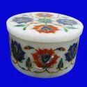 Round White Marble Semi Precious Stone Box