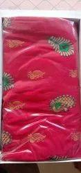 Party Wear Printed Mor Pisara Semi Brocket Silk Saree, 5.5 m (separate blouse piece)