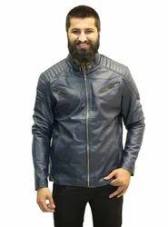 Faux Leather Large Men's Blue Solid Biker Jacket