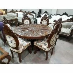 Brown And White Size/Dimension: 4x4 Feet Royal Antique Round Dining Table Set, Lifetime