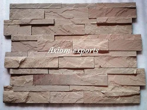 Beige Natural Sandstone Wall Panels, Size: 6x24 Inch