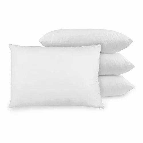BR Enterprises Plain White Rectangular Bed Pillow