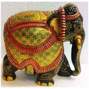Wood Bikaner House Gold Painted Elephants, For Interior Decor