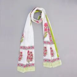 Women Summer Cotton Block Floral White Base Pink Print Dupatta Jaipuri Print Stole